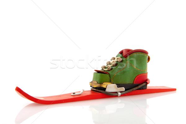 Wintersport skiën winter schoen geïsoleerd witte Stockfoto © ivonnewierink