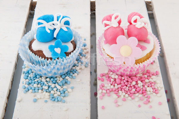 Cupcake for a baby girl and boy Stock photo © ivonnewierink
