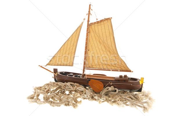 Oude nederlands zeil boot houten geïsoleerd Stockfoto © ivonnewierink