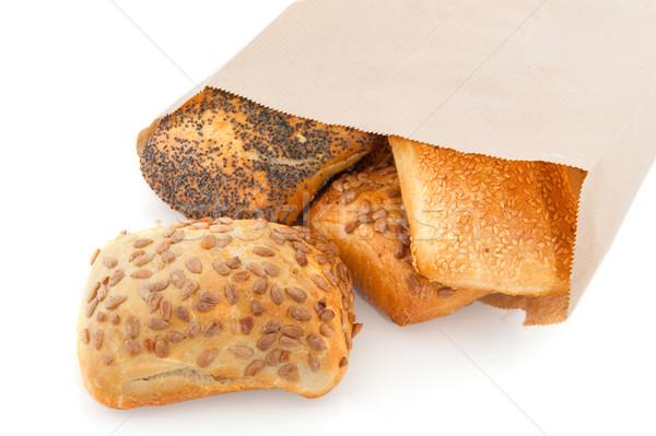 Luksusowe chleba torby papierowe ziarna odizolowany Zdjęcia stock © ivonnewierink