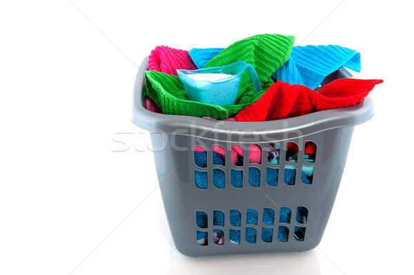 корзина для белья красочный изолированный белый очистки Сток-фото © ivonnewierink