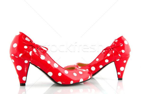 Red speckles shoes Stock photo © ivonnewierink