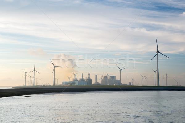 Ipari kikötő szélturbinák Hollandia tájkép növény Stock fotó © ivonnewierink