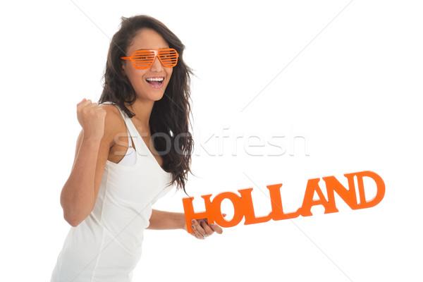 Stock fotó: Rajongó · Hollandia · afroamerikai · nő · holland · csapat · izolált