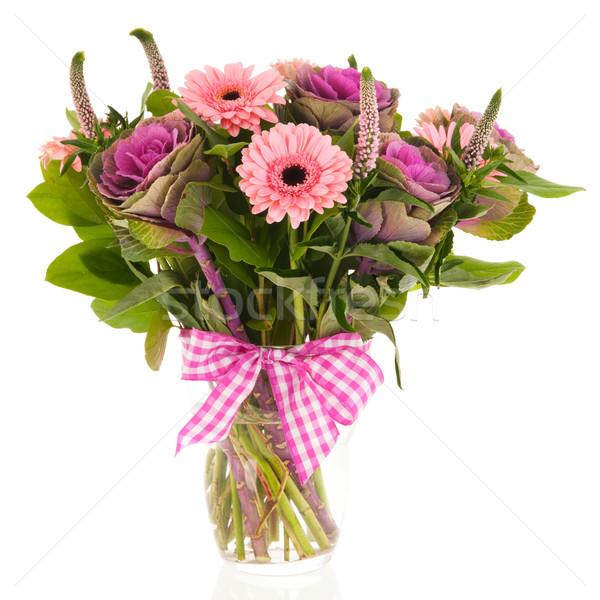 Mista bouquet compleanno fiori vetro vaso Foto d'archivio © ivonnewierink