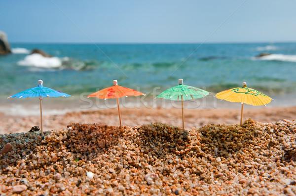 Colorido sombra praia pequeno mar Foto stock © ivonnewierink