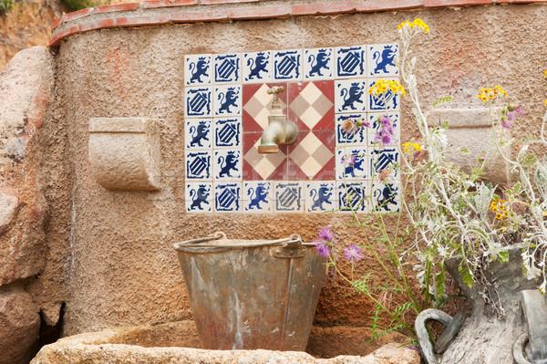 Spanisch Wasserhahn alten romantischen Freien Natur Stock foto © ivonnewierink