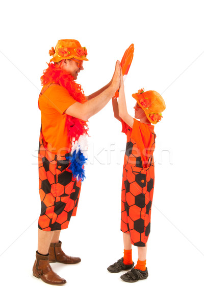 Stock fotó: Holland · narancs · futball · apa · fia · szurkolók · sport