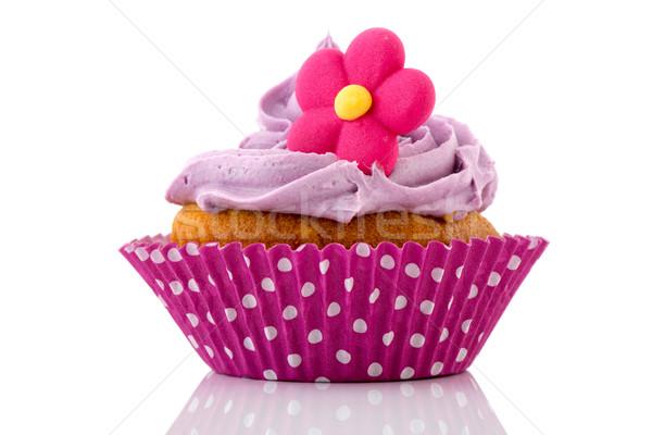 Rosa Cupcake Blume Buttercreme Essen Geburtstag Stock foto © ivonnewierink