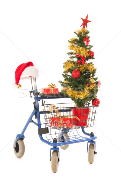 Blue walker with Christmas tree and gifts Stock photo © ivonnewierink