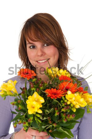 Girl with a flower gift Stock photo © ivonnewierink