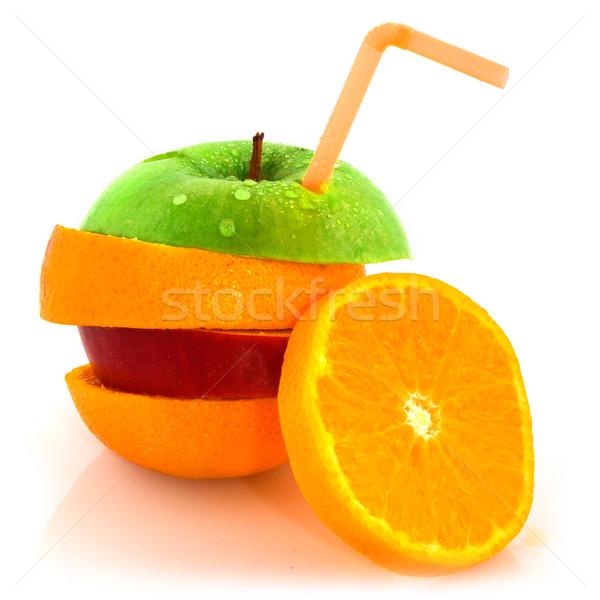 Stok fotoğraf: Meyve · içme · saman · sulu · turuncu
