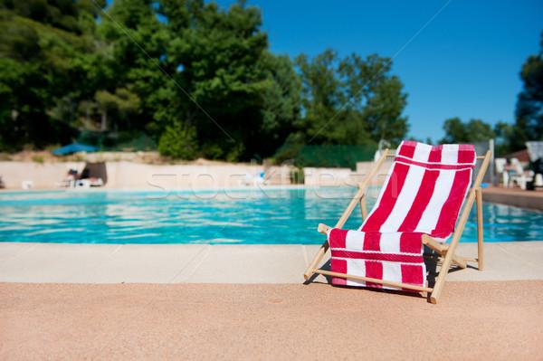 şezlong yüzme havuzu havlu plaj su spor Stok fotoğraf © ivonnewierink
