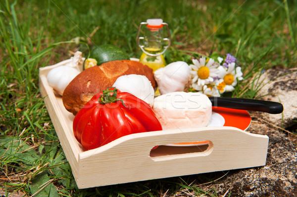 Francia kenyér sajt zöldségek olaj szabadtér fű Stock fotó © ivonnewierink