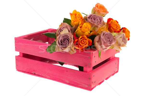 Skrzynia róż różowy kolorowy bukiet Zdjęcia stock © ivonnewierink