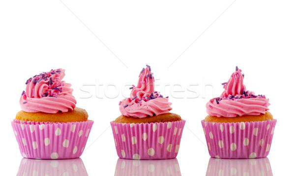 Pink cupcakes with purple sprinkles Stock photo © ivonnewierink