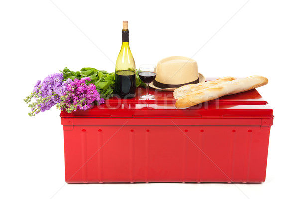 Stock photo: Picnic with wine and bread