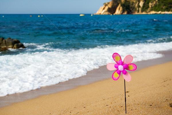 Oyuncak rüzgâr değirmen plaj renkli yaz Stok fotoğraf © ivonnewierink