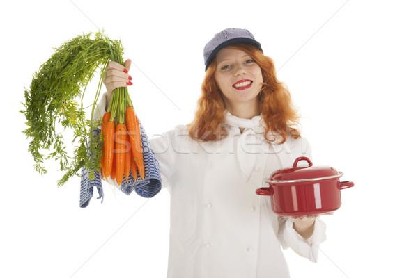 Női szakács szakács zöldségek vörös haj sült Stock fotó © ivonnewierink