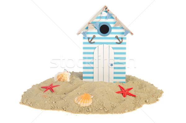 Plaj kulübe kabukları yaz kum ev arka plan Stok fotoğraf © ivonnewierink