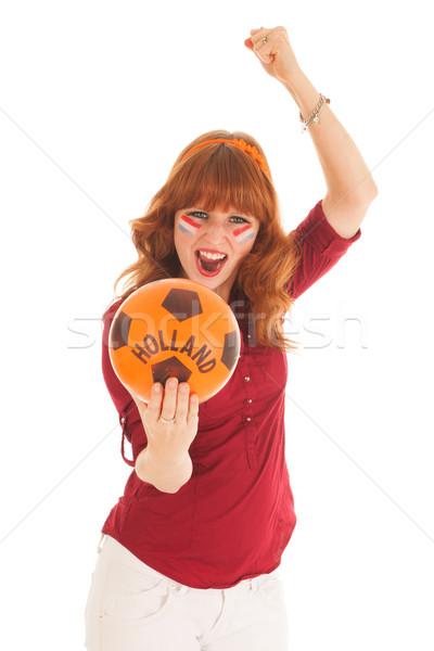 Holland futball ventillátor fiatal piros nő Stock fotó © ivonnewierink