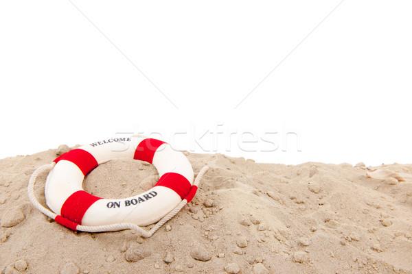Reddingsboei strand welkom boord achtergrond boot Stockfoto © ivonnewierink