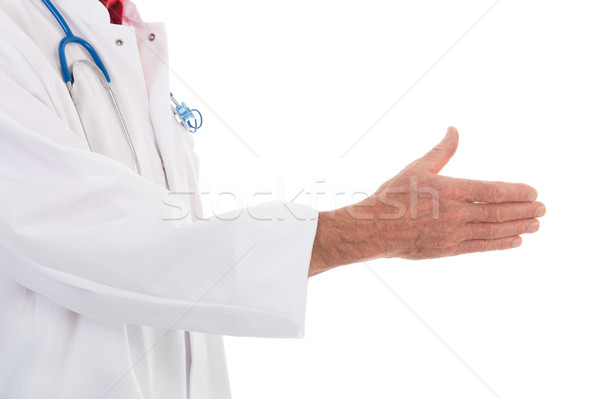 Physician handshake on white background Stock photo © ivonnewierink