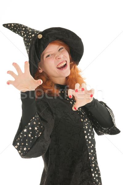 Gonosz boszorkány fiatal nő vörös haj izolált fehér Stock fotó © ivonnewierink