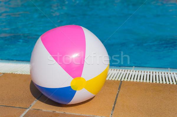 Nadmuchiwane piłka basen kolorowy lata niebieski Zdjęcia stock © ivonnewierink