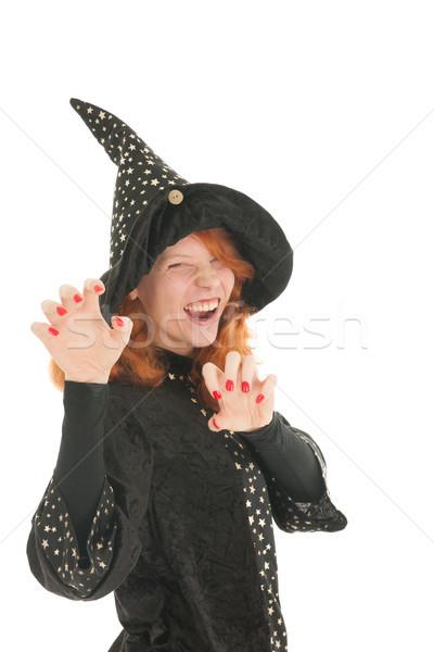 悪 魔女 若い女性 孤立した 白 ストックフォト © ivonnewierink