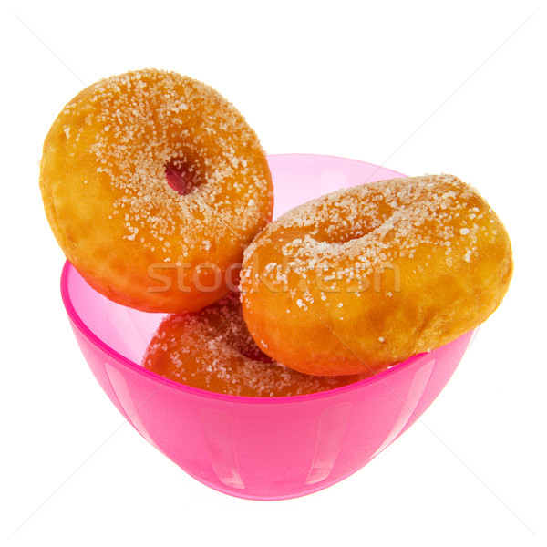 Pink bowl sugary donuts Stock photo © ivonnewierink