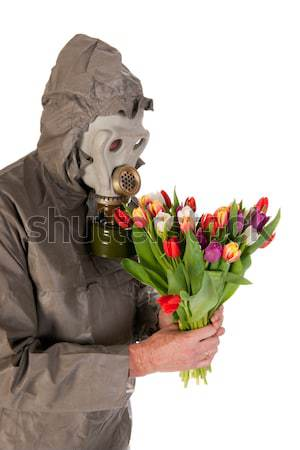 Man with gas mask Stock photo © ivonnewierink