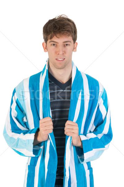 Jonge man pyjama toga slippers man Stockfoto © ivonnewierink