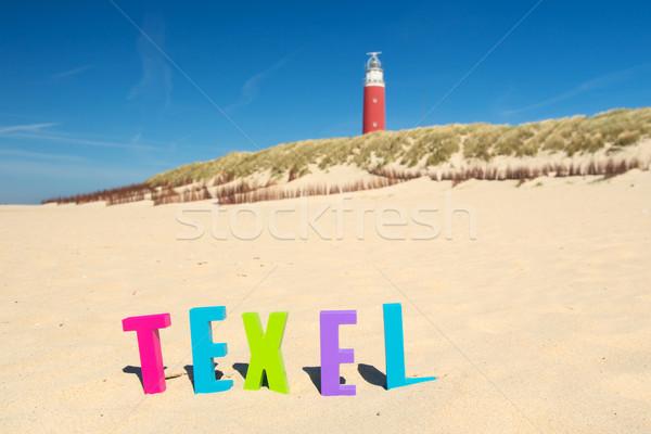 Stockfoto: Rood · vuurtoren · kust · woord · nederlands · strand