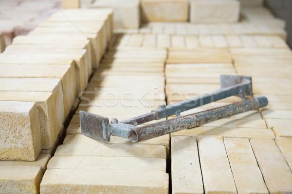 Kő téglák állványzat épít ház fal Stock fotó © ivonnewierink