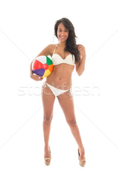 Czarnej kobiety gry piłka plażowa bikini kolorowy odizolowany Zdjęcia stock © ivonnewierink
