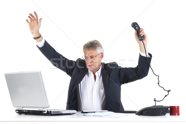 Złe wyniki człowiek panika działalności papieru Zdjęcia stock © ivonnewierink
