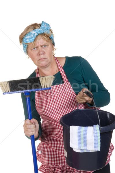 Nudny domu żona czyszczenia funny Zdjęcia stock © ivonnewierink