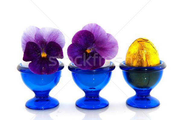 Húsvét fészek rózsa csokoládé tojás virágok Stock fotó © ivonnewierink