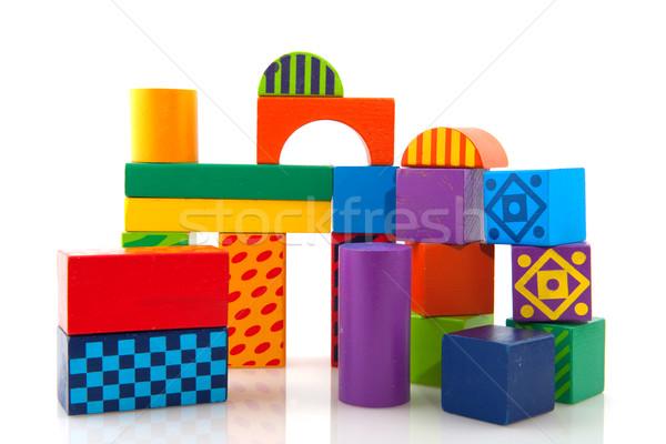Fa játék kockák épít ház háttér Stock fotó © ivonnewierink