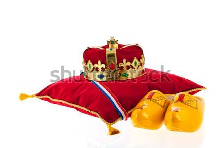 Dutch golden crown for the king and wooden clogs Stock photo © ivonnewierink
