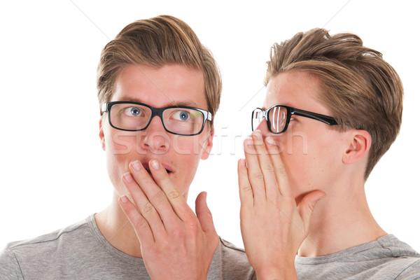 Plotka bliźnięta dorosły mężczyzna ucha Zdjęcia stock © ivonnewierink