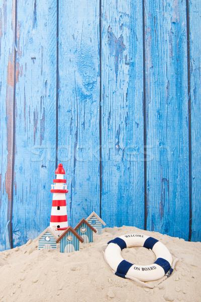 Praia farol bóia salva-vidas vintage azul fundo Foto stock © ivonnewierink
