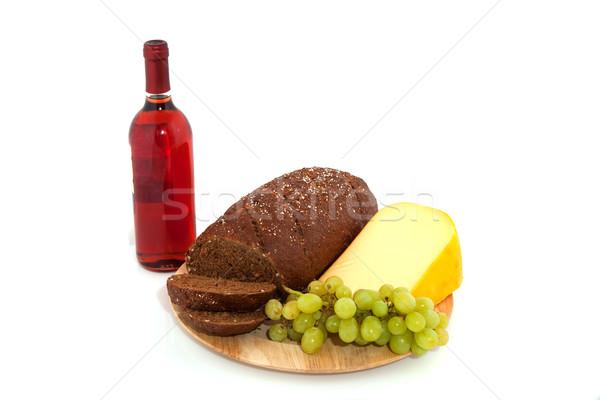 Foto stock: Todo · comida · pan · vino · queso · frescos