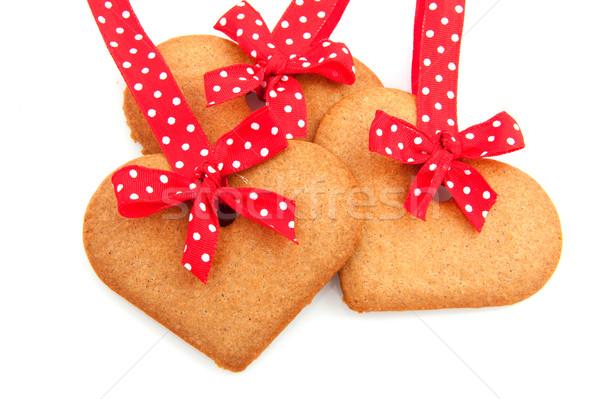 Baked gingerbread hearts Stock photo © ivonnewierink