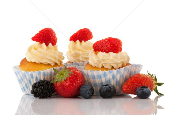 Strawberry cupcakes with fresh fruit Stock photo © ivonnewierink