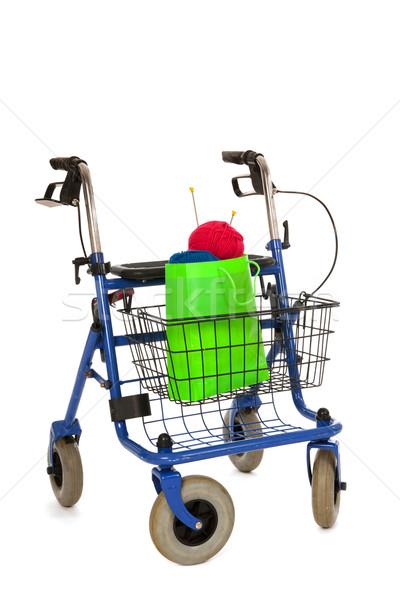 Blue walker with knitting work Stock photo © ivonnewierink
