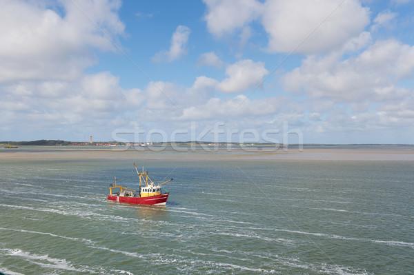 Dutch fishing boat at wadden sea Stock photo © ivonnewierink