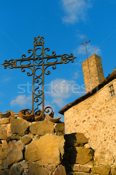 Metal cross and castle Stock photo © ivonnewierink