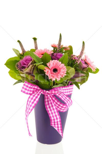 Gemischte Bouquet Blumen blau Vase modernen Stock foto © ivonnewierink